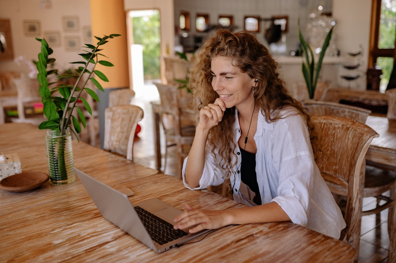Virtual Brainstorming Session with woman on laptop