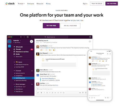 Landing Page Visuals by Slack