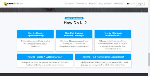 DigitalMarketer Landing Page with Action Questions