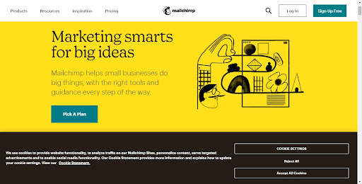 MailChimp Landing Page with Pop-Up Cookie Notification