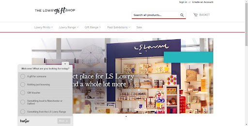 Lowry Gift Shop Landing Page with Hotjar Poll